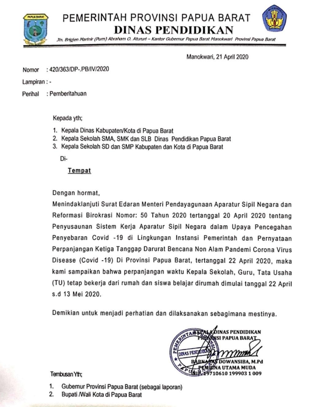 Belajar Di Rumah Diperpanjang Ini Surat Edaran Disdik Papua Barat Jagat Papua